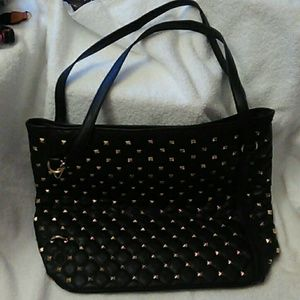 Black quilted Tote with goldtone accents